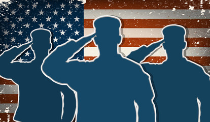 Three US Army soldiers saluting on grunge american flag backgrou