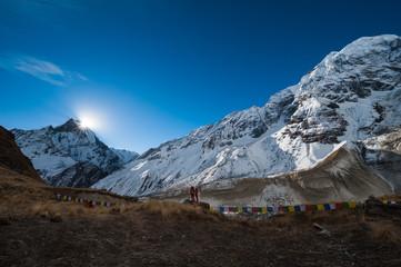 Machapuchare and Himchuli Peak in Annapurna Himal
