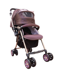 Side front pram with cover on white background.