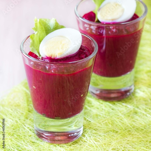 Beetroot, beet cream salad, mousse with eggs in shot glass