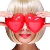 Fashion Blonde Girl with Red Hearts