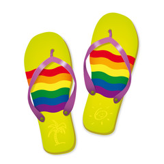 Rainbow Flag Flip Flops Vector Illustration