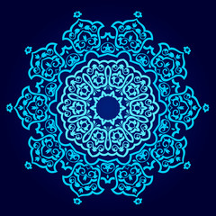 Abstract vector circle floral ornamental border