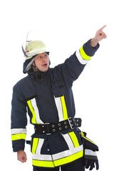 Fireman in uniform standing pointing
