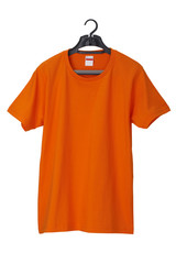 Orange T-Shirt on hanger /clipping path