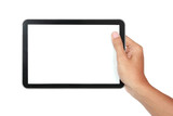 photo of a tablet held by a hand horizontally
