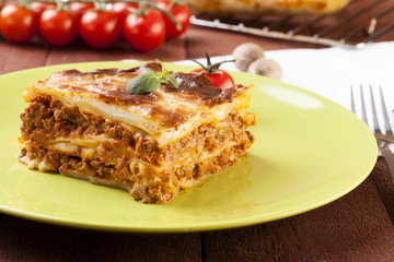 Portion of tasty lasagna on a plate