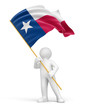 Man and flag of Texas (clipping path included)