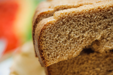 sliced of baked brown bread