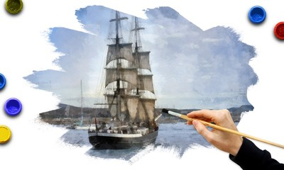 Hand painting of ancient sailboat