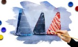 Hand painting of sailboats race