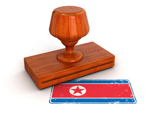 Rubber Stamp North Korean flag (clipping path included)