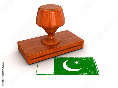 Rubber Stamp Pakistan flag (clipping path included)
