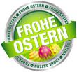 """Button Banner """"Frohe Ostern"""" Ostereier grün/silber"""