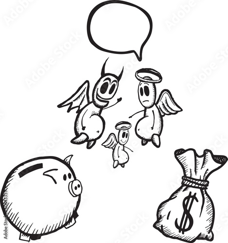 Savings and spending concept illustrations