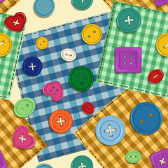 Seamless pattern of patchwork and buttons
