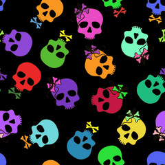 Seamless pattern of funny cartoon skulls