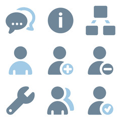 Users icons, blue solid series