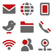 Communication web icons, dark red and grey