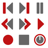 Media player web icons, dark red and grey