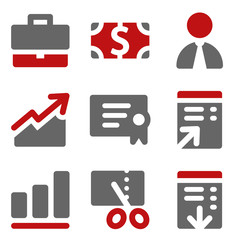 Finance web icons, dark red and grey