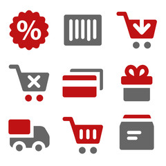 Shopping web icons, dark red and grey