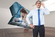 Composite image of thinking businessman tilting glasses