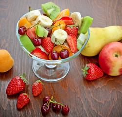 Fruit salad made of fresh organic fruits