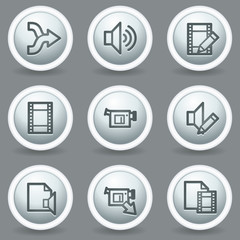 Audio video edit  web icons, circle grey matt buttons
