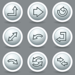 Arrows web icons set 1, circle grey matt buttons