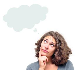 Portrait Frau mit Gedankenblase