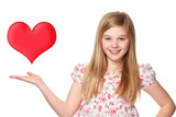 young girl with a red heart