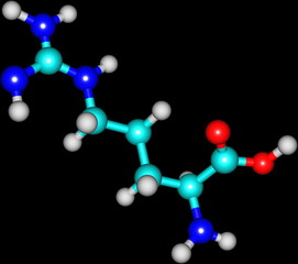 Arginine molecular structure on black background