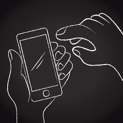 Hands playing smartphone illustration