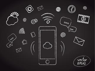 Illustration of chalk smartphone applications