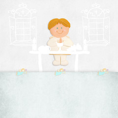 first communion invitation blond boy on the altar