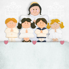 first communion invitation angel and children