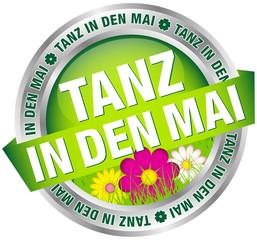 "Button Banner ""Tanz in den Mai"" Blumen grün/silber"