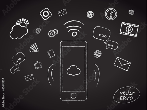 Illustration of chalk smartphone applications