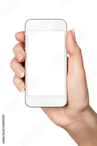 Close up of female hand holding blank smart phone