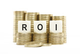 ROI (Return on Investment) Coin Stacks Isolated White Background