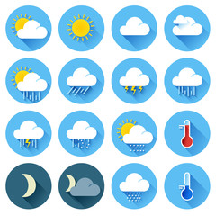Flat color weather icons