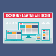 Responsive Adaptive Web Design in Flat Design Style.