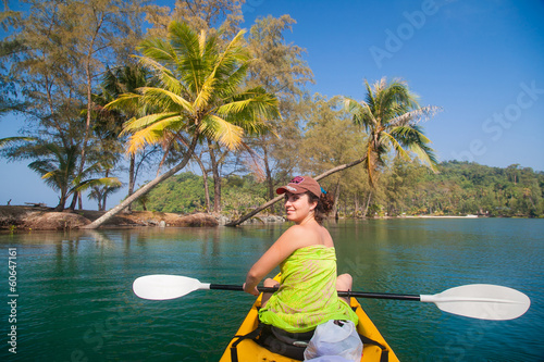 Young girl in a sea kayak