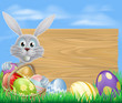 Happy Easter bunny and chocolate eggs sign