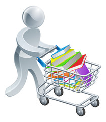 Person pushing trolley with books