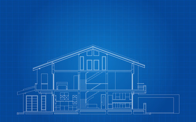 Modern American House Facade Section Architectural Blueprint