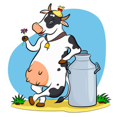 cow with milk can