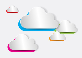 Abstract Colorful Paper Cloud for Computing, Web, Apps - Vector