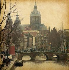 Oudezijds Voorburgwal , Amsterdam, Netherlands . Paper texture.